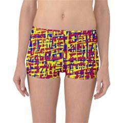 Red, yellow and blue pattern Reversible Boyleg Bikini Bottoms