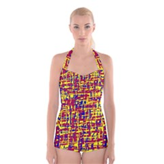 Red, yellow and blue pattern Boyleg Halter Swimsuit