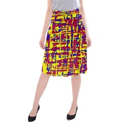 Red, yellow and blue pattern Midi Beach Skirt