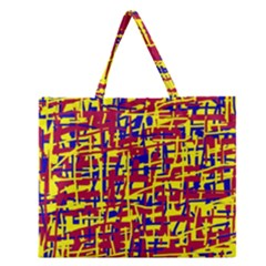 Red, Yellow And Blue Pattern Zipper Large Tote Bag