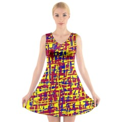 Red, yellow and blue pattern V-Neck Sleeveless Skater Dress