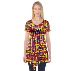 Red, yellow and blue pattern Short Sleeve Tunic