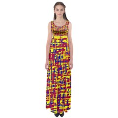 Red, yellow and blue pattern Empire Waist Maxi Dress