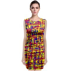 Red, yellow and blue pattern Classic Sleeveless Midi Dress