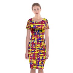 Red, Yellow And Blue Pattern Classic Short Sleeve Midi Dress