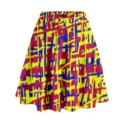 Red, yellow and blue pattern High Waist Skirt