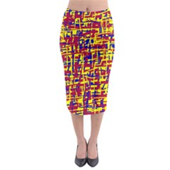 Red, yellow and blue pattern Midi Pencil Skirt