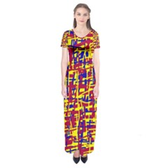 Red, Yellow And Blue Pattern Short Sleeve Maxi Dress
