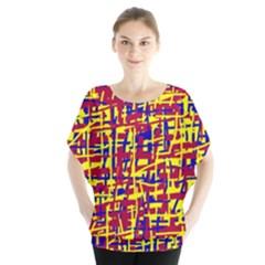 Red, yellow and blue pattern Batwing Chiffon Blouse
