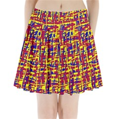 Red, yellow and blue pattern Pleated Mini Mesh Skirt