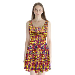 Red, yellow and blue pattern Split Back Mini Dress