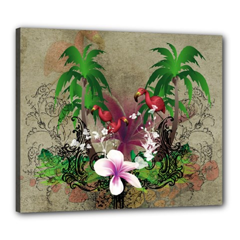 Wonderful Tropical Design With Palm And Flamingo Canvas 24  x 20