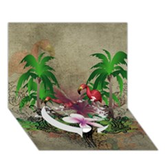 Wonderful Tropical Design With Palm And Flamingo Circle Bottom 3d Greeting Card (7x5)