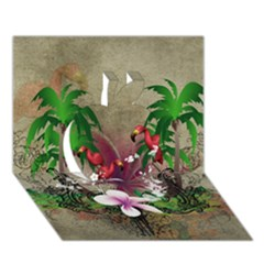 Wonderful Tropical Design With Palm And Flamingo Apple 3d Greeting Card (7x5)