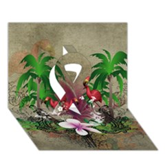 Wonderful Tropical Design With Palm And Flamingo Ribbon 3D Greeting Card (7x5)