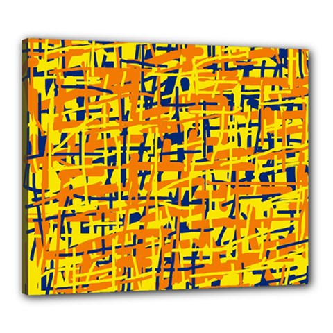 Yellow, orange and blue pattern Canvas 24  x 20