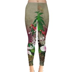Wonderful Tropical Design With Palm And Flamingo Leggings