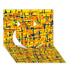 Yellow, orange and blue pattern Heart 3D Greeting Card (7x5)