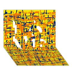 Yellow, orange and blue pattern LOVE 3D Greeting Card (7x5)