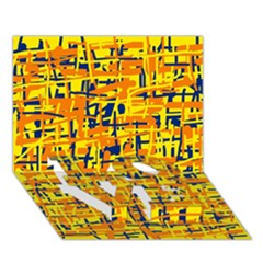 Yellow, orange and blue pattern LOVE Bottom 3D Greeting Card (7x5)