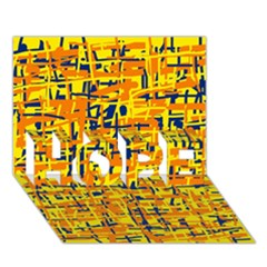 Yellow, orange and blue pattern HOPE 3D Greeting Card (7x5)