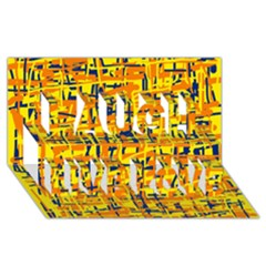 Yellow, orange and blue pattern Laugh Live Love 3D Greeting Card (8x4)