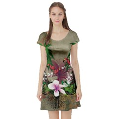 Wonderful Tropical Design With Palm And Flamingo Short Sleeve Skater Dress