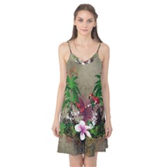 Wonderful Tropical Design With Palm And Flamingo Camis Nightgown