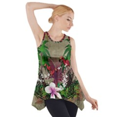 Wonderful Tropical Design With Palm And Flamingo Side Drop Tank Tunic