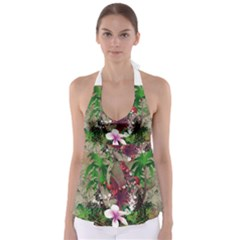 Wonderful Tropical Design With Palm And Flamingo Babydoll Tankini Top