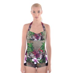 Wonderful Tropical Design With Palm And Flamingo Boyleg Halter Swimsuit