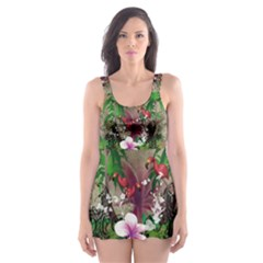 Wonderful Tropical Design With Palm And Flamingo Skater Dress Swimsuit
