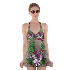 Wonderful Tropical Design With Palm And Flamingo Halter Swimsuit Dress