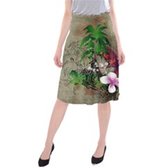Wonderful Tropical Design With Palm And Flamingo Midi Beach Skirt
