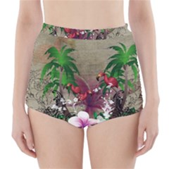 Wonderful Tropical Design With Palm And Flamingo High-Waisted Bikini Bottoms