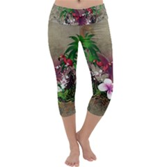 Wonderful Tropical Design With Palm And Flamingo Capri Yoga Leggings