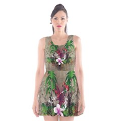 Wonderful Tropical Design With Palm And Flamingo Scoop Neck Skater Dress