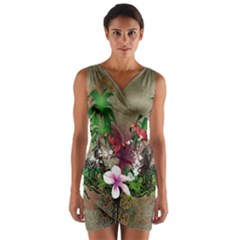 Wonderful Tropical Design With Palm And Flamingo Wrap Front Bodycon Dress