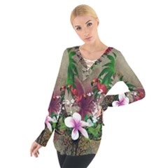 Wonderful Tropical Design With Palm And Flamingo Women s Tie Up Tee