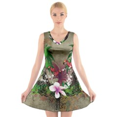 Wonderful Tropical Design With Palm And Flamingo V Neck Sleeveless Skater Dress