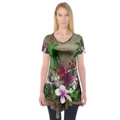 Wonderful Tropical Design With Palm And Flamingo Short Sleeve Tunic