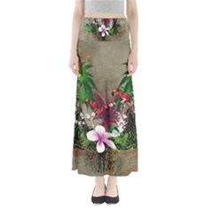Wonderful Tropical Design With Palm And Flamingo Maxi Skirts