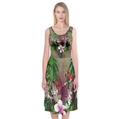 Wonderful Tropical Design With Palm And Flamingo Midi Sleeveless Dress