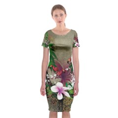 Wonderful Tropical Design With Palm And Flamingo Classic Short Sleeve Midi Dress