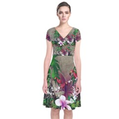 Wonderful Tropical Design With Palm And Flamingo Short Sleeve Front Wrap Dress