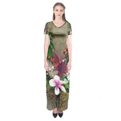Wonderful Tropical Design With Palm And Flamingo Short Sleeve Maxi Dress