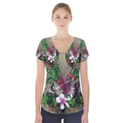 Wonderful Tropical Design With Palm And Flamingo Short Sleeve Front Detail Top