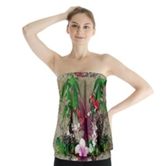 Wonderful Tropical Design With Palm And Flamingo Strapless Top