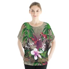 Wonderful Tropical Design With Palm And Flamingo Batwing Chiffon Blouse