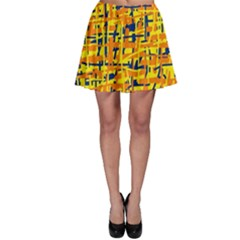 Yellow, orange and blue pattern Skater Skirt